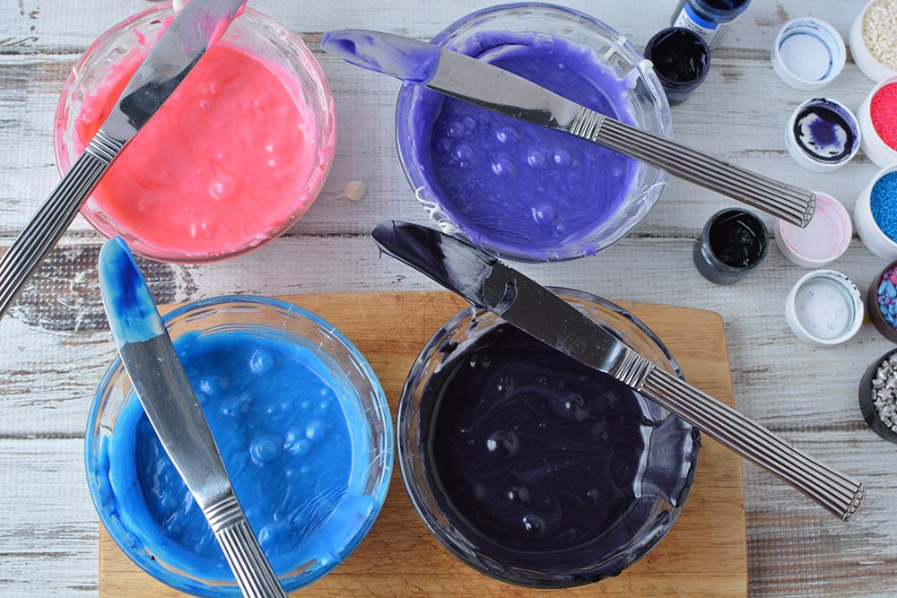 Colored bowls of fudge