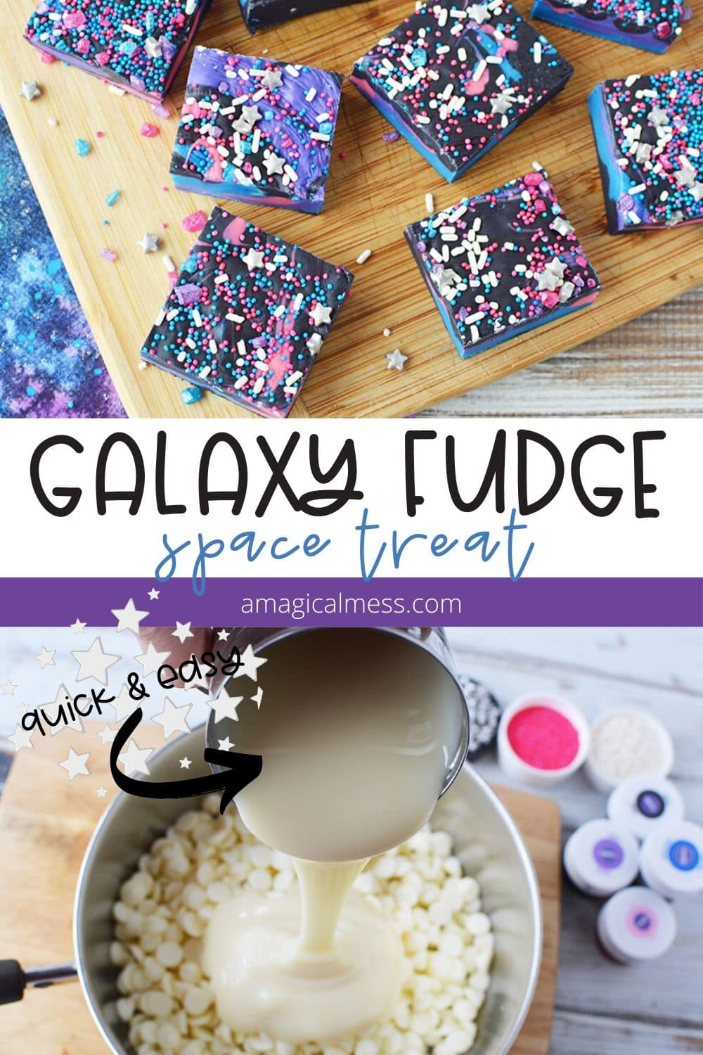 galaxy fudge on a board and pot of chips