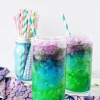 Mermaid lemonade icy drinks layered in glasses