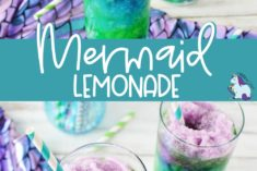 Lemonade colored into purple, blue, and green