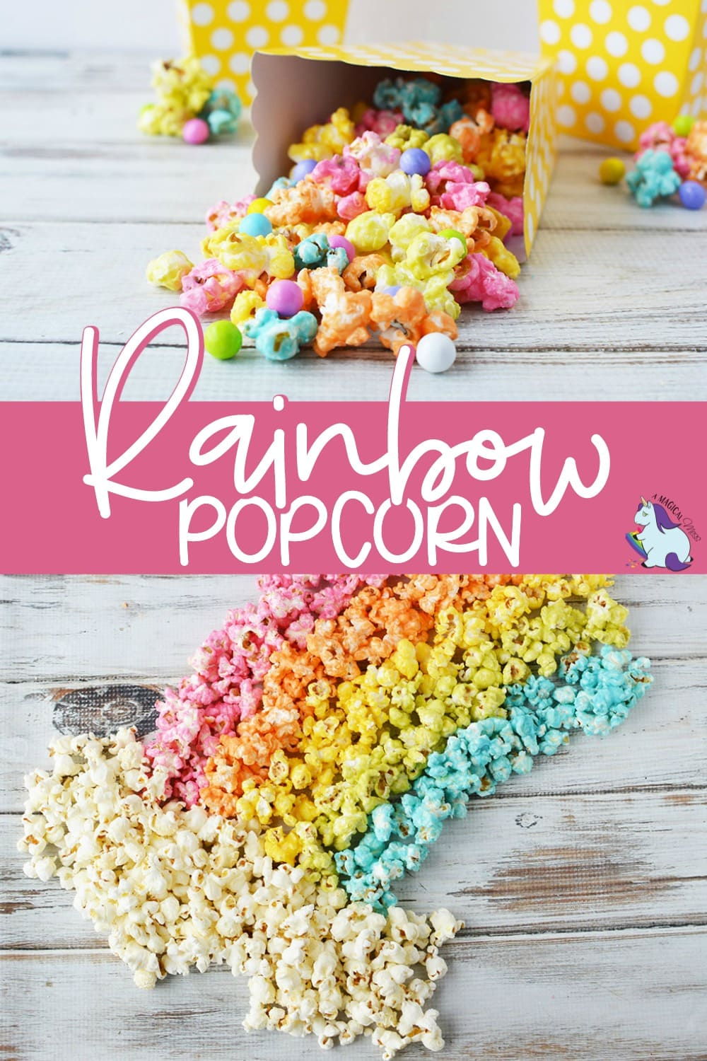 Rainbow unicorn popcorn in a box and on a board