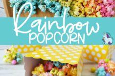 Unicorn rainbow popcorn on a board and in a box
