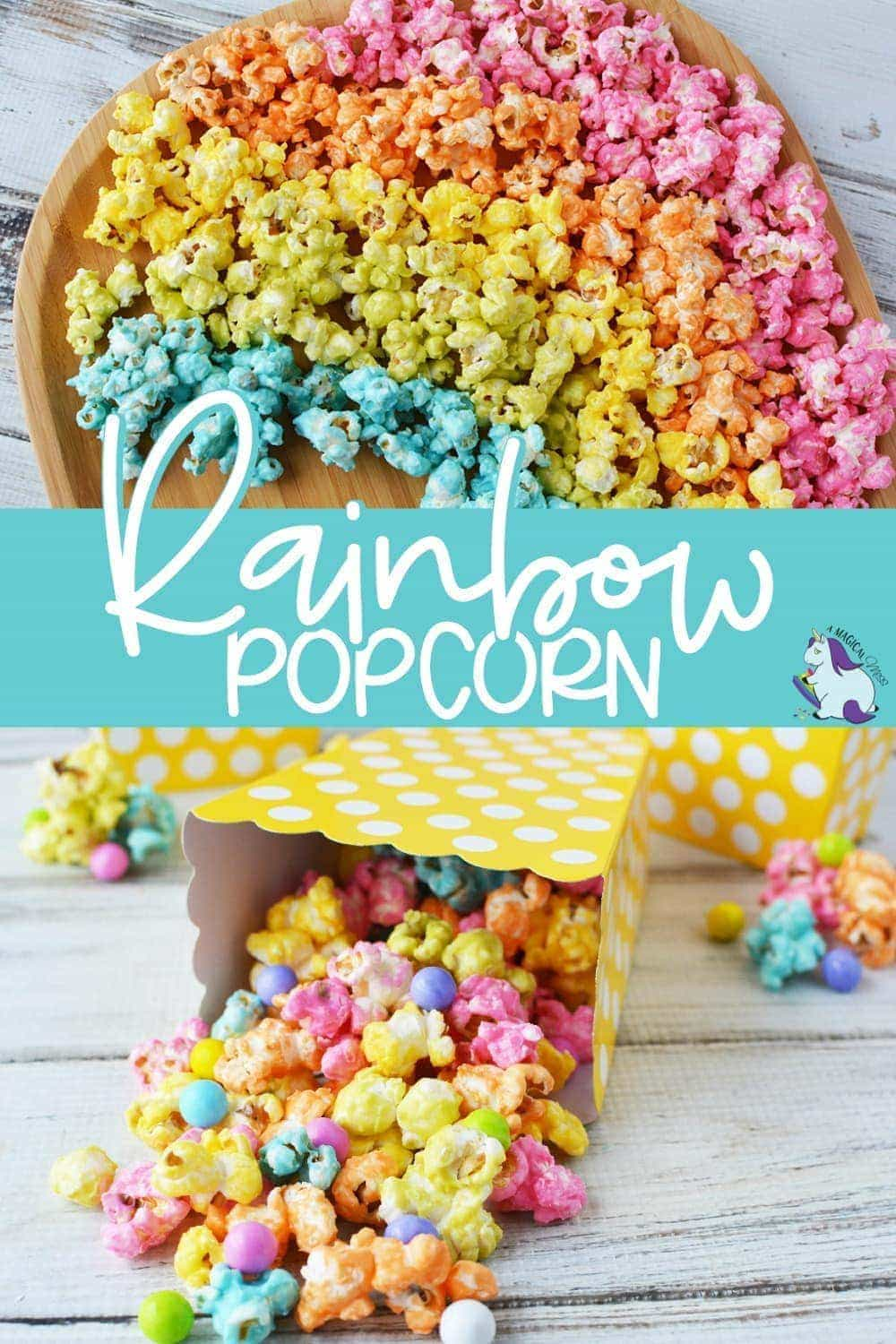 Unicorn rainbow popcorn on a board and in a box