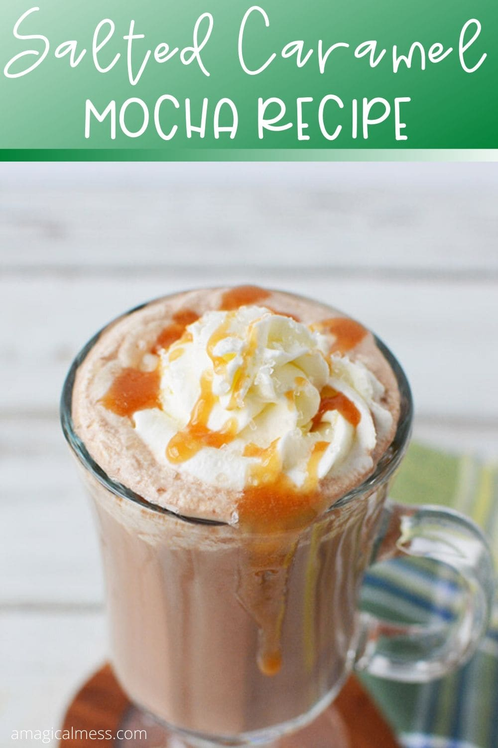 Coffee drink topped with whipped cream and caramel