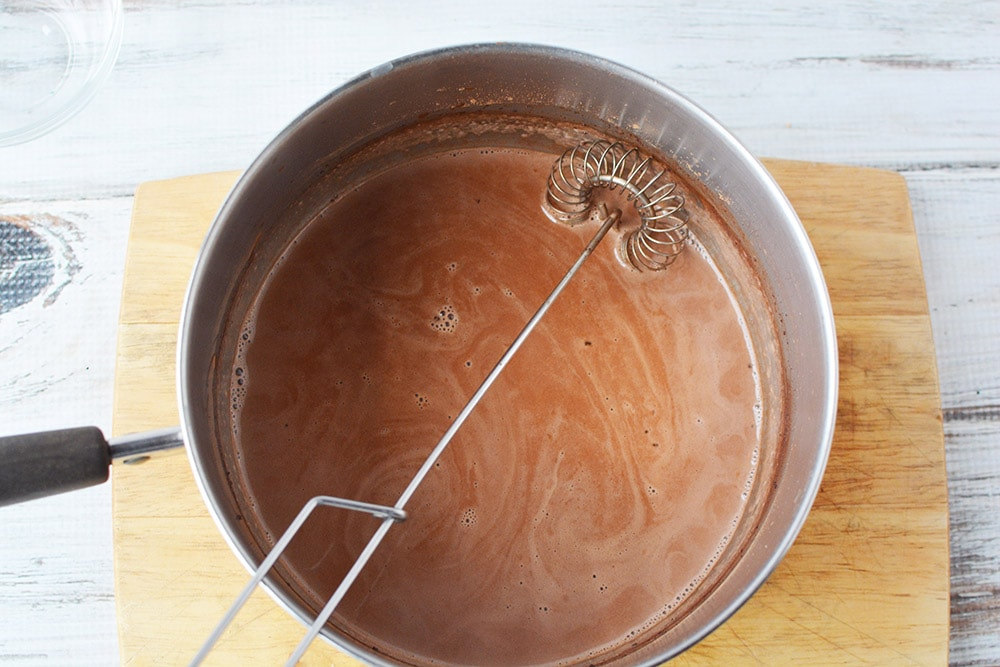 Whisk in saucepan full of cocoa mixture