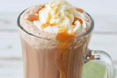 Caramel coffee drink in a mug