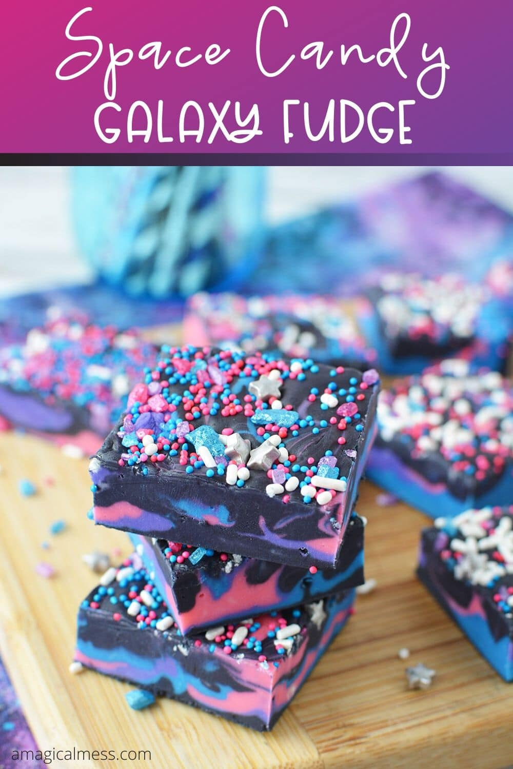 Fudge colored for a space party on a board