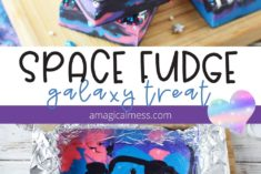 Space fudge in a pan and cut on a board