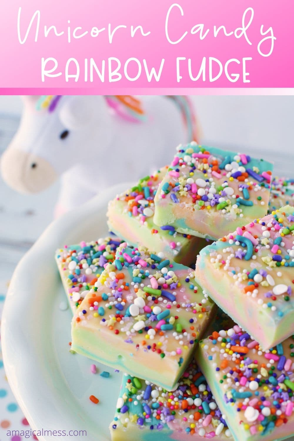Unicorn fudge on a plate with a unicorn toy