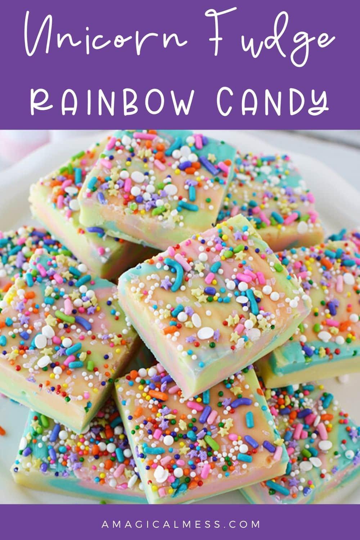rainbow fudge sliced on a plate