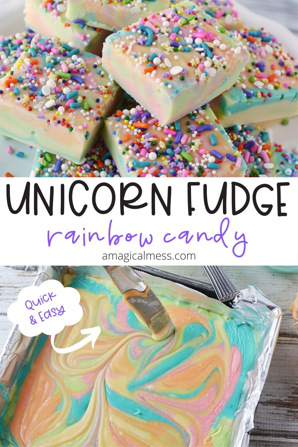 unicorn rainbow fudge in a pan and sliced on a plate