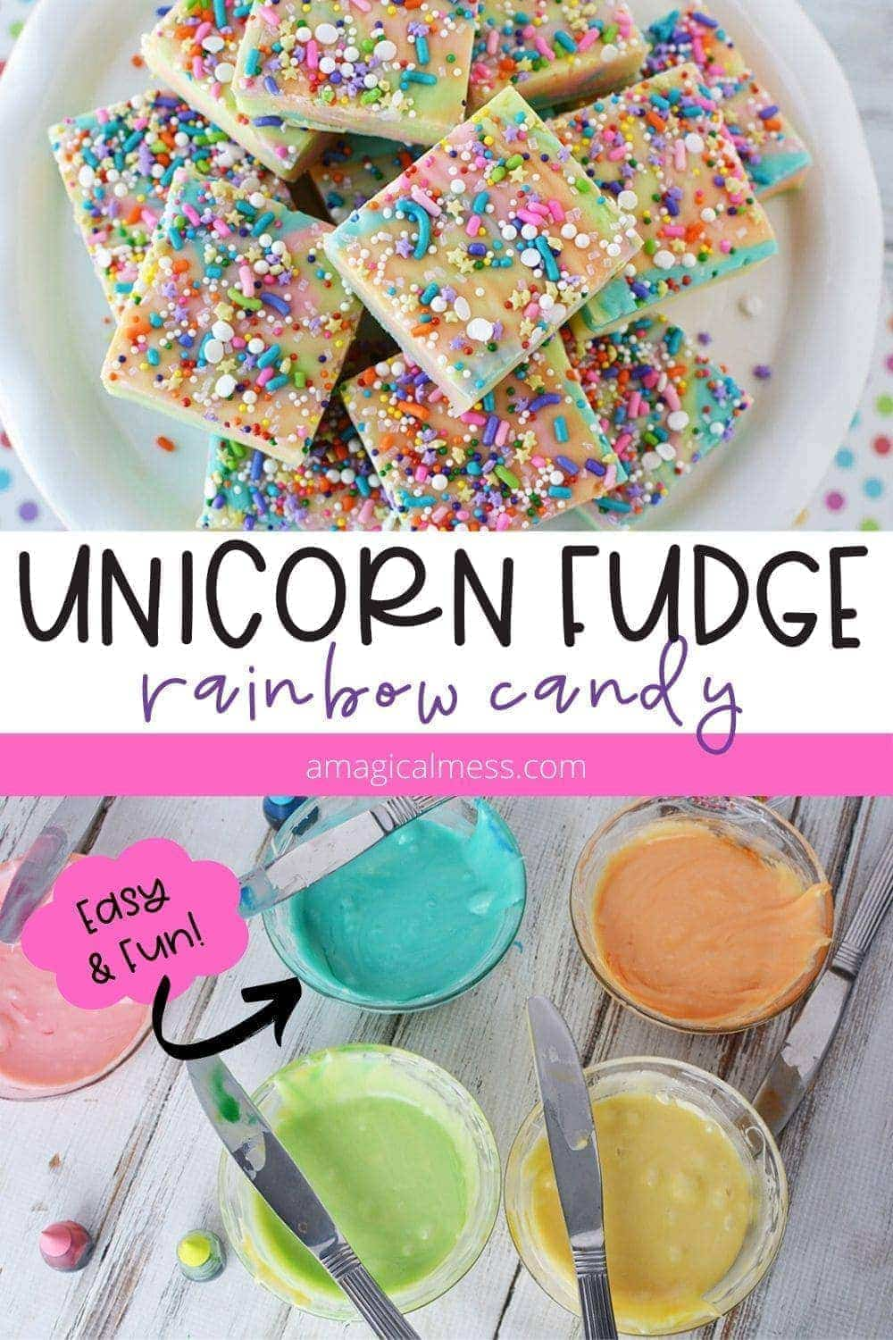 Unicorn fudge on a plate and colored in bowls