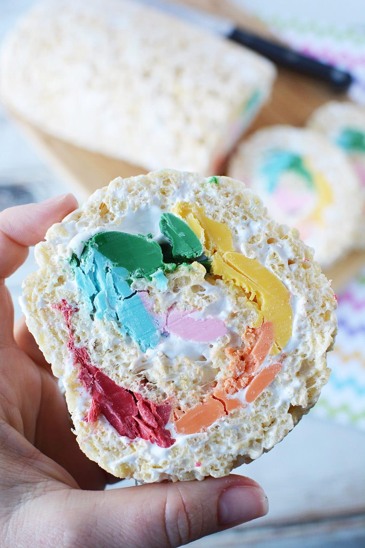 Rainbow pinwheel Rice Krispies treat cut
