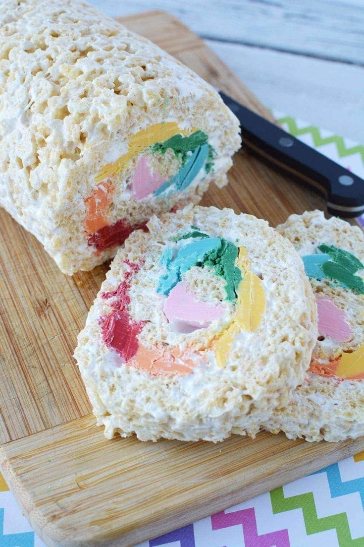 Rainbow Pinwheel Rice Krispies Treat