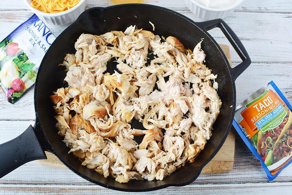 shredded chicken in a skillet