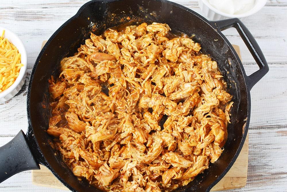 chicken ranch taco mixture in skillet