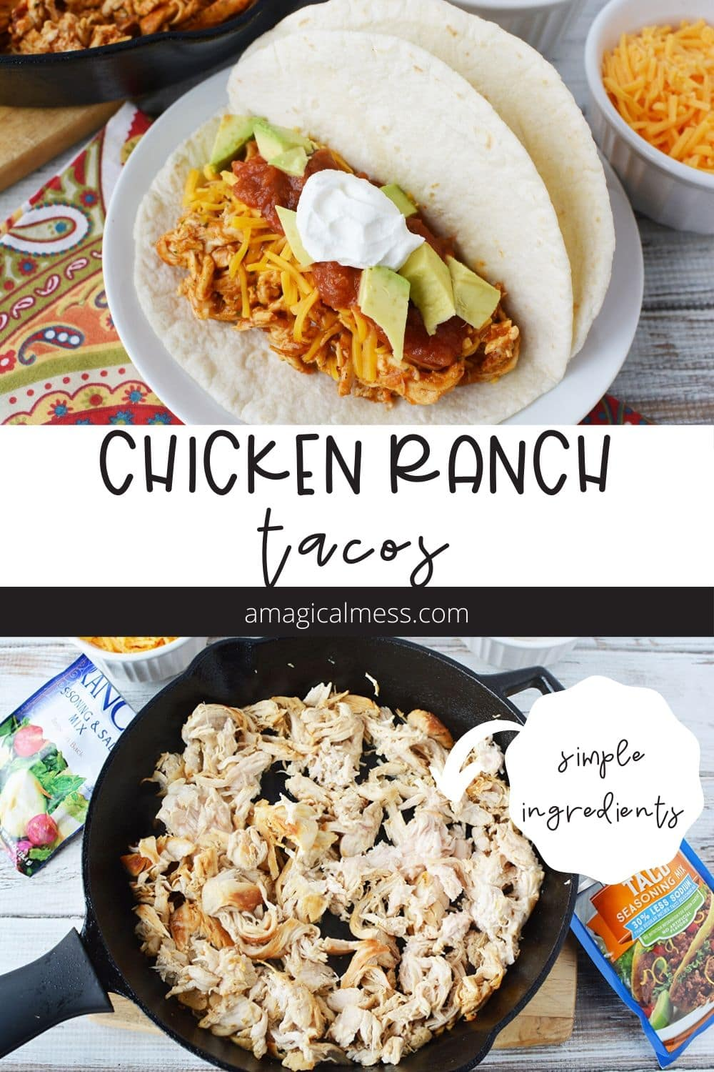 Chicken ranch tacos in a shell and in a skillet