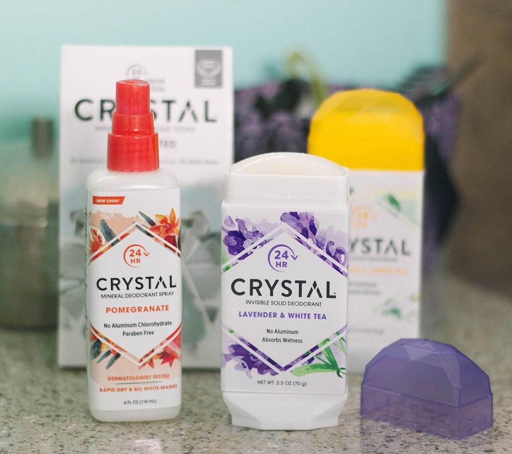 Crystal deodorant products