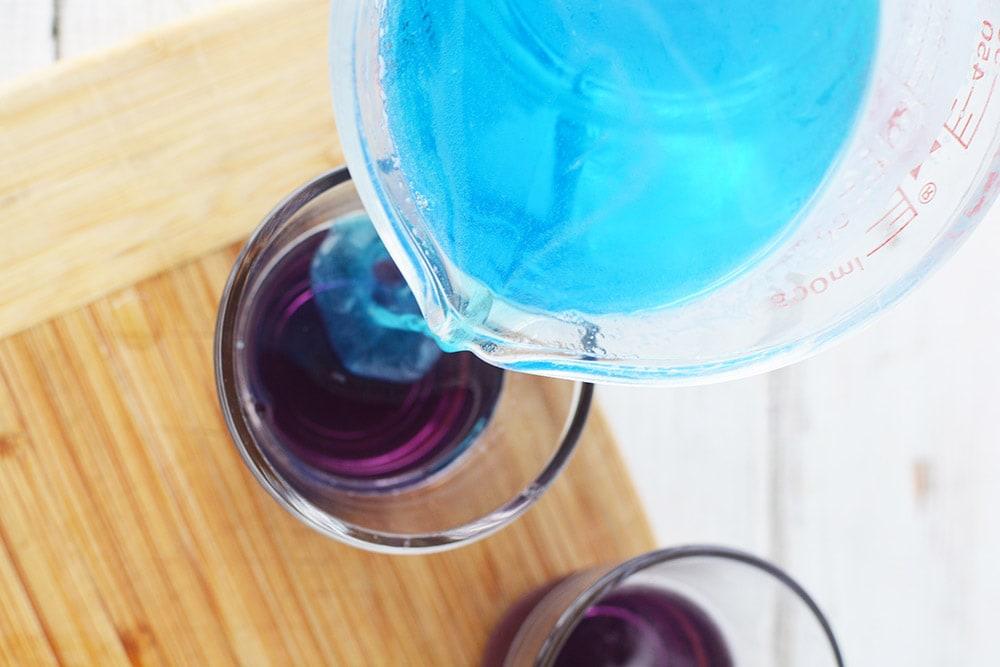 blue jello on top of grape jello