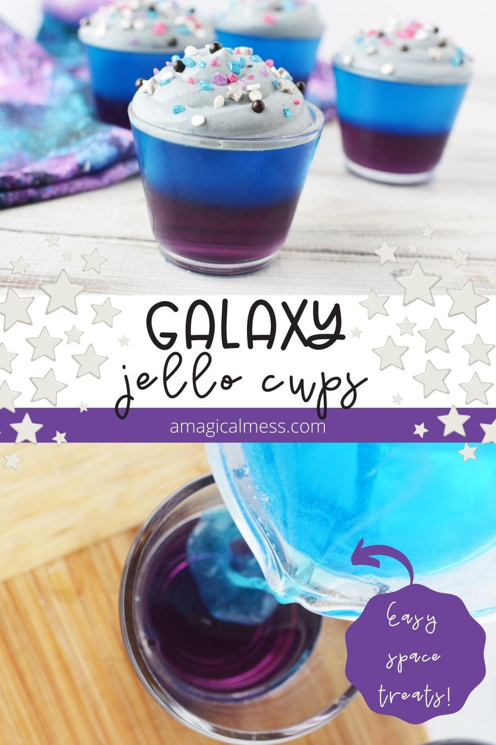 Galaxy jello cups on a table