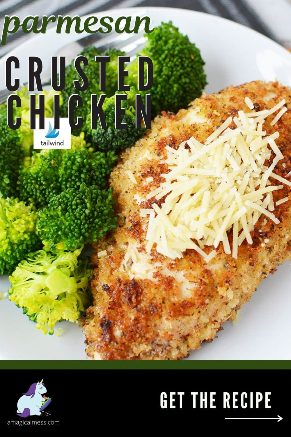 Parmesan chicken on a plate with broccoli