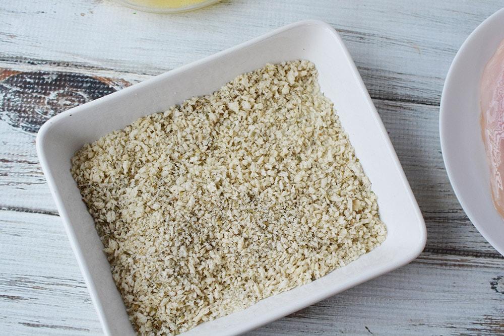 bread crumbs and seasonings in a bowl