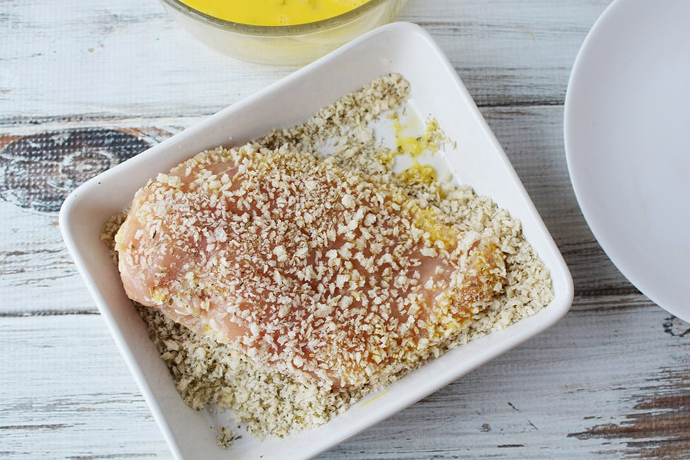 chicken coated with bread crumbs