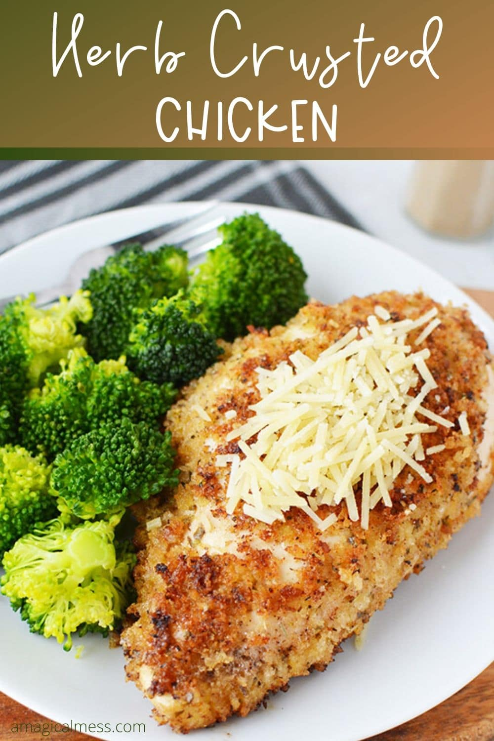 Herb crusted chicken dinner on a plate
