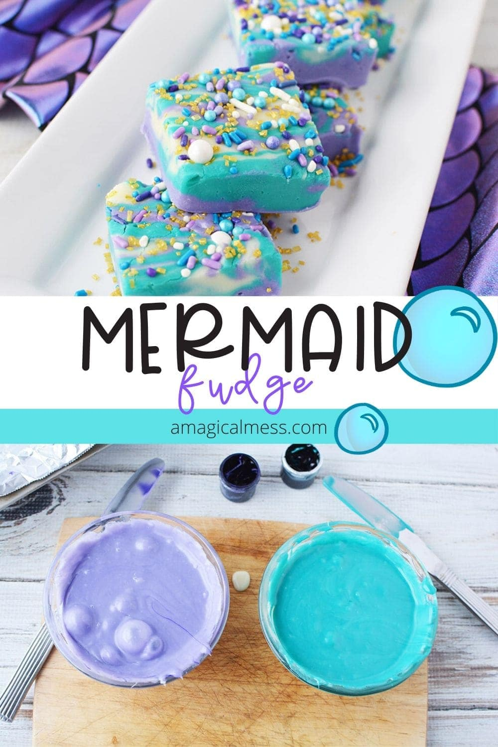 Mermaid candy in bowls and sliced fudge on plate