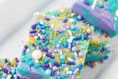 Purple and blue fudge candy with sprinkles