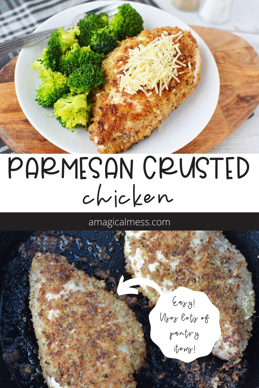 Parmesan crusted chicken on a dinner plate and in a pan