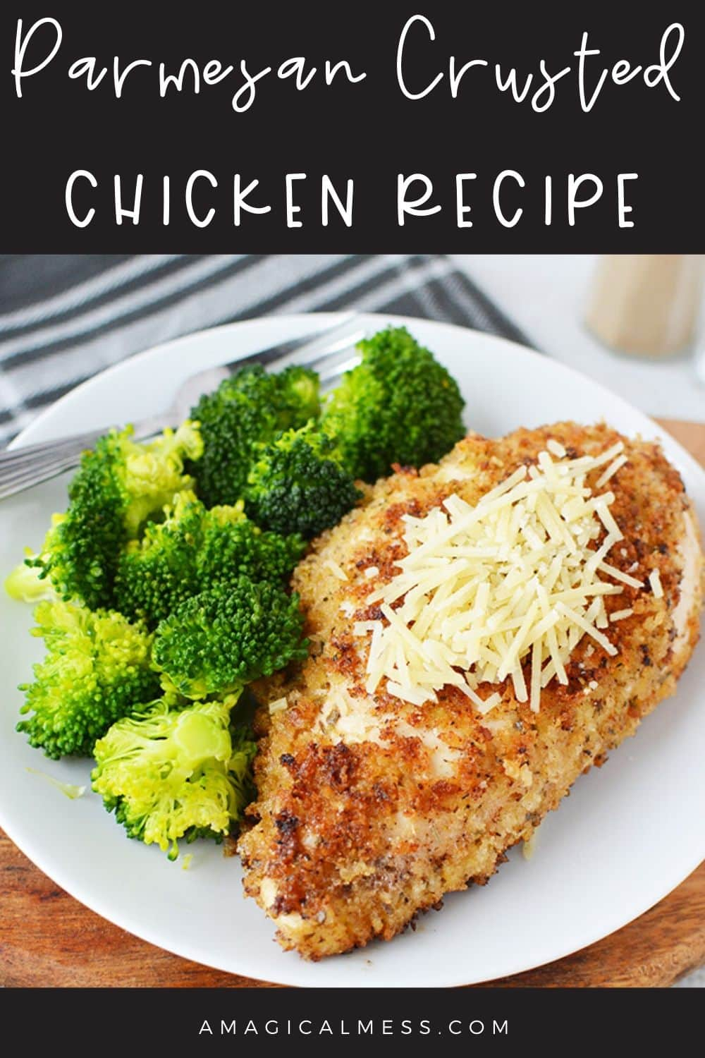 parmesan crusted chicken on a dinner plate with veggies