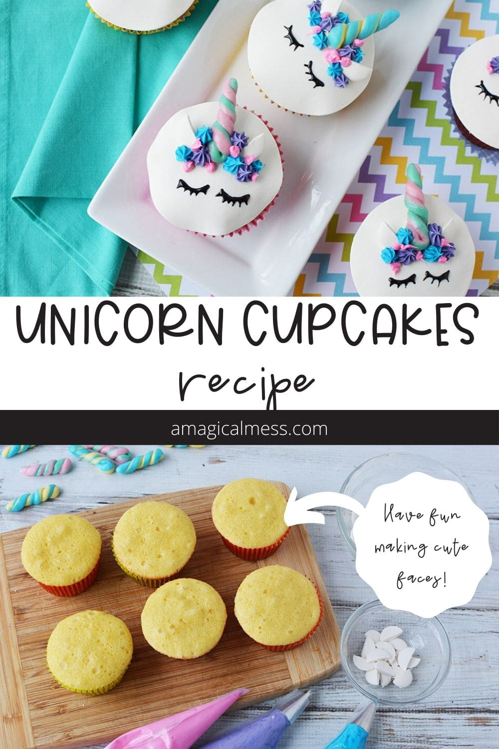 Plain cupcakes and decorated unicorn faces