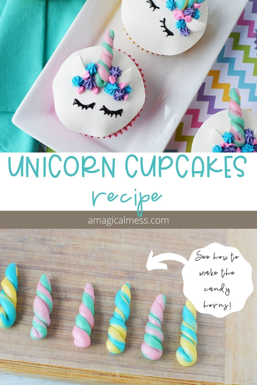 Unicorn cupcakes and candy horns