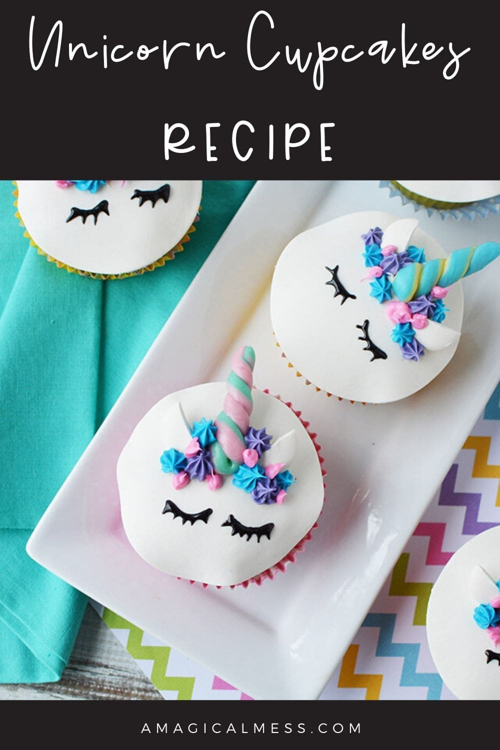 Unicorn cupcakes on a plate