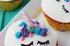 Unicorn face cupcakes with horns
