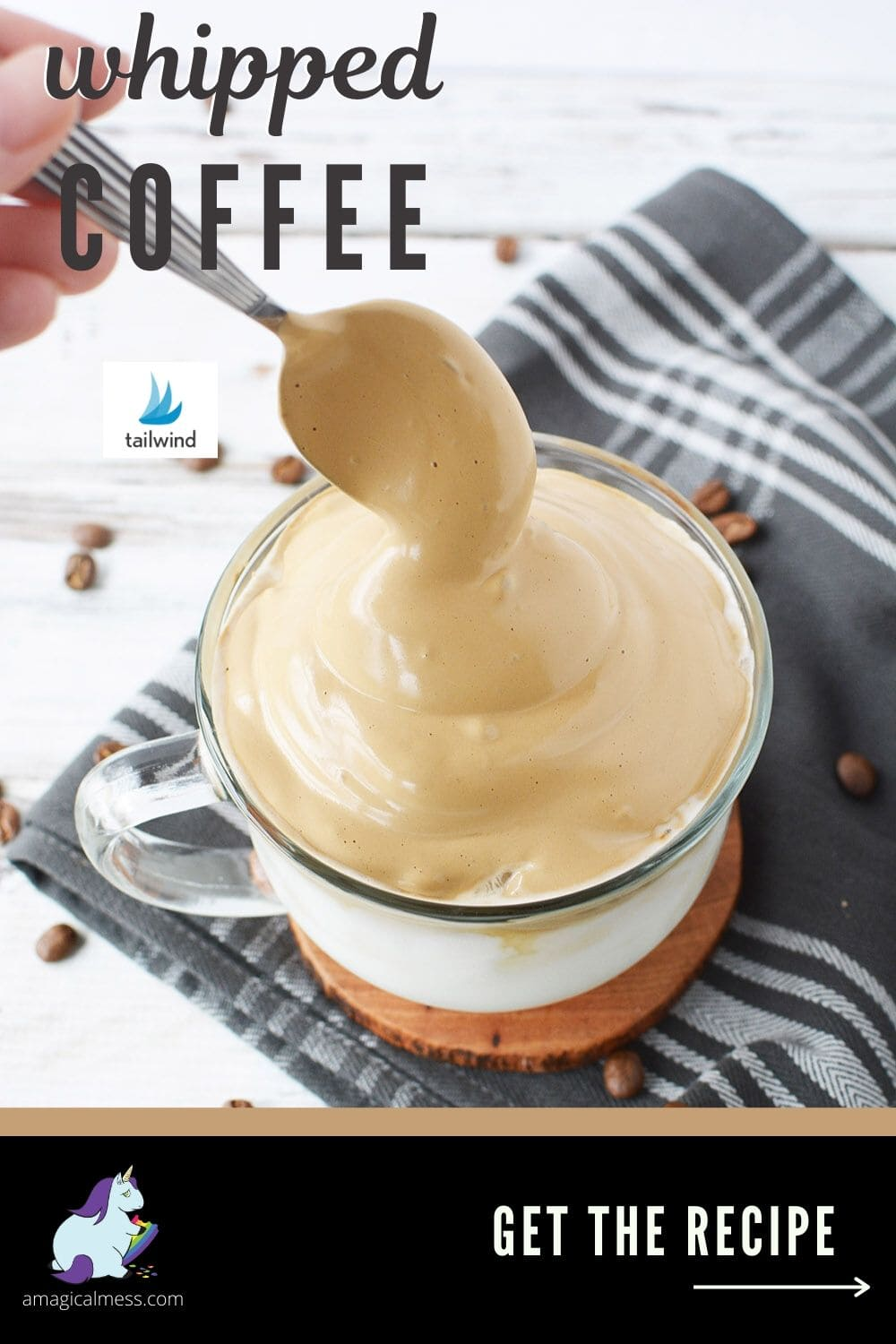 Topping milk with Dalgona coffee whipped topping