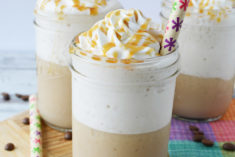 blended coffee drinks with caramel in jars