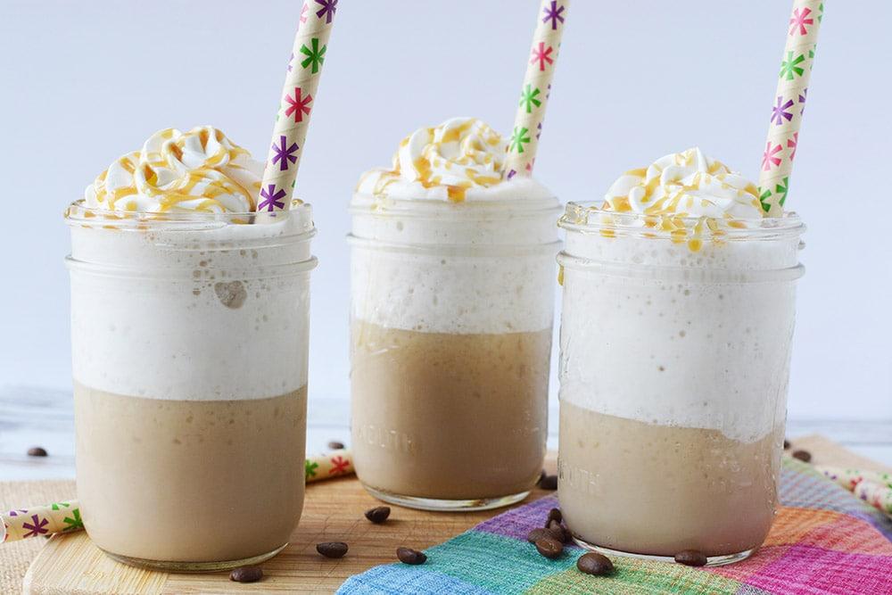 three jars of caramel frappuccinos