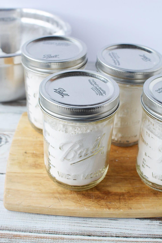 jars of basic pancake mix for the pantry