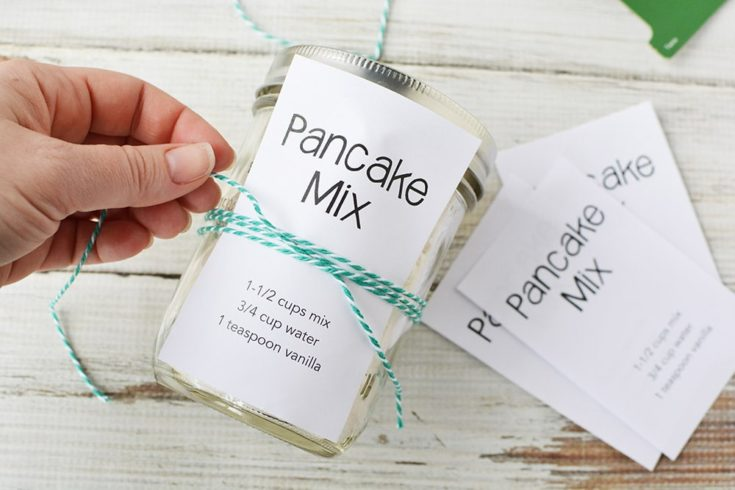 jar of pancake mix with printable and string