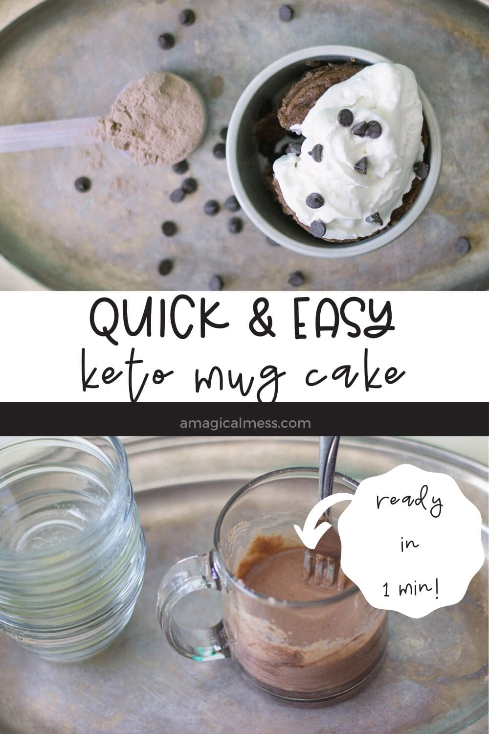 overhead shot of mug cake and batter in mug