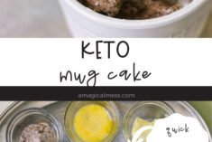 keto chocolate mug cake on a fork and ingredients in bowls