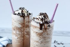 frosty chocolate coffee drinks on a table
