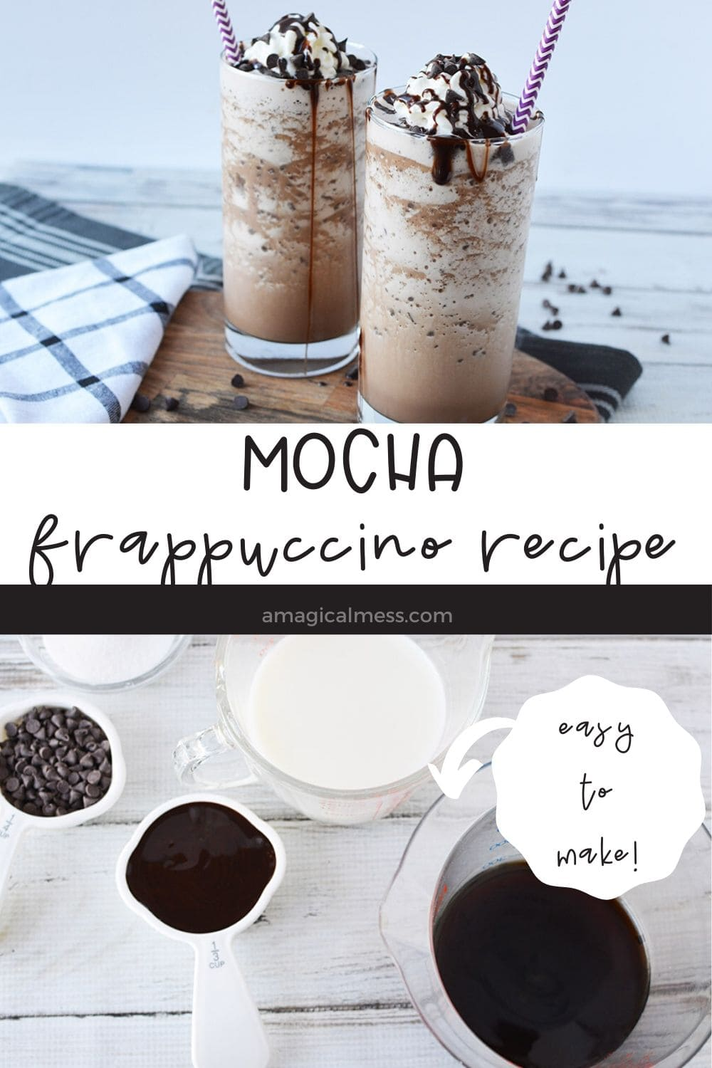 mocha frappuccino drinks in glasses