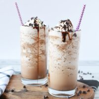 two glasses of mocha frappuccino drinks