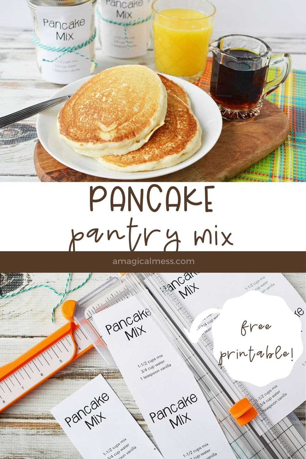 pancakes on plate with other breakfast foods