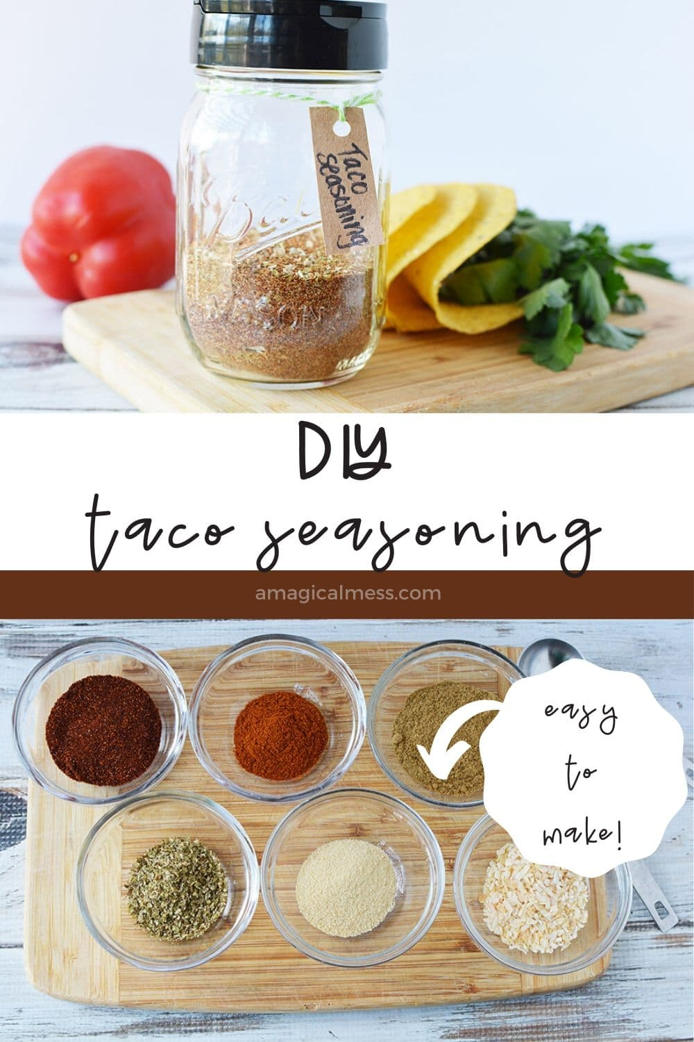Taco seasoning in a jar and spices in little bowls