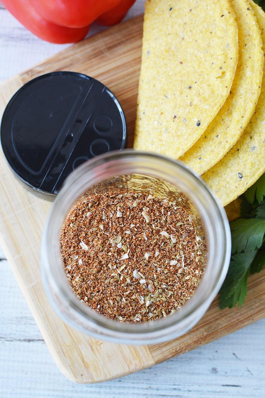 overhead shot of taco seasoning mix in a jar