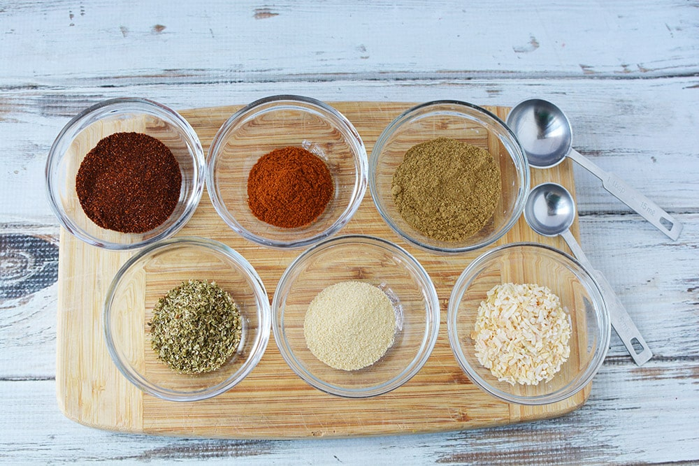 bowls of spices for taco seasoning mix